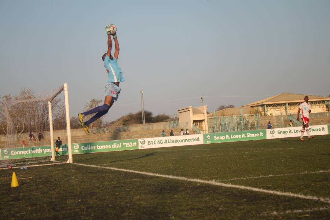 Miscellaneous goal stopper Tshepo Mooketsi making a regular catch.The game ended to a 2 all draw