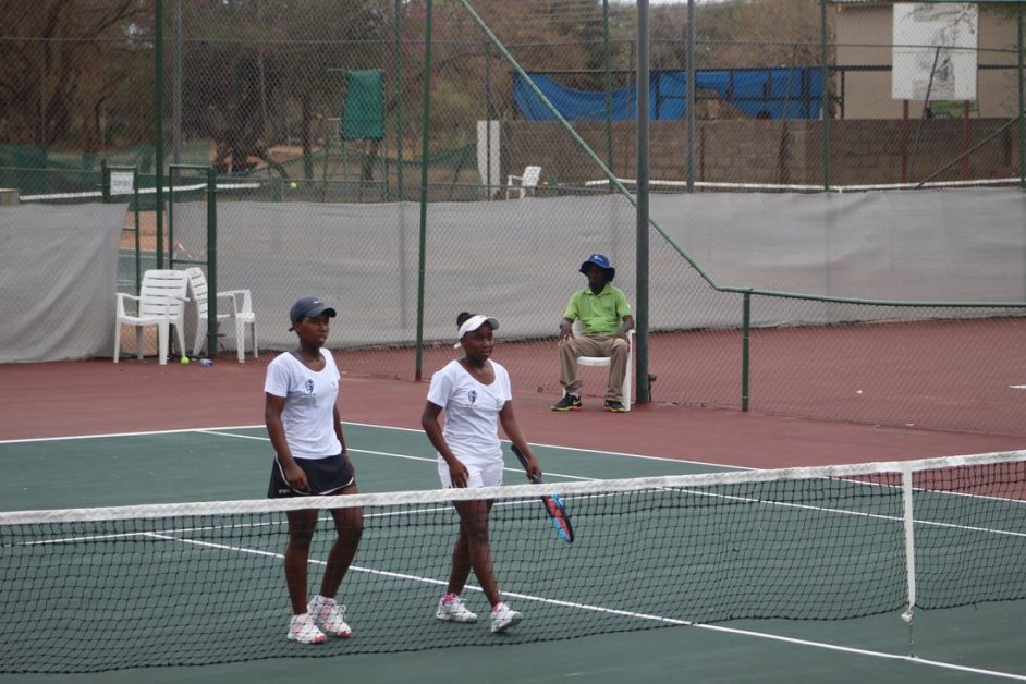 Botswana`s double impact Tshegofatso Tsiang and Leungo Mannawoo during thier womens doubles final.The duo got silver from the match and Tshegofatso went on to get bronze from ladies singles