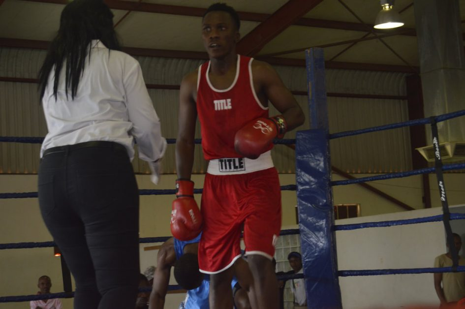 Captain Kefentse Molalapata just after moment of brilliance against Muller.Muller won by unanimous decision.