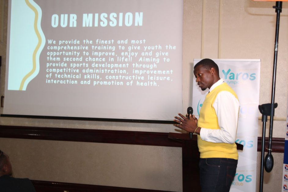 Co-founder of Yaros Olympic Club Sibanda making his presentation at the launch of his club.