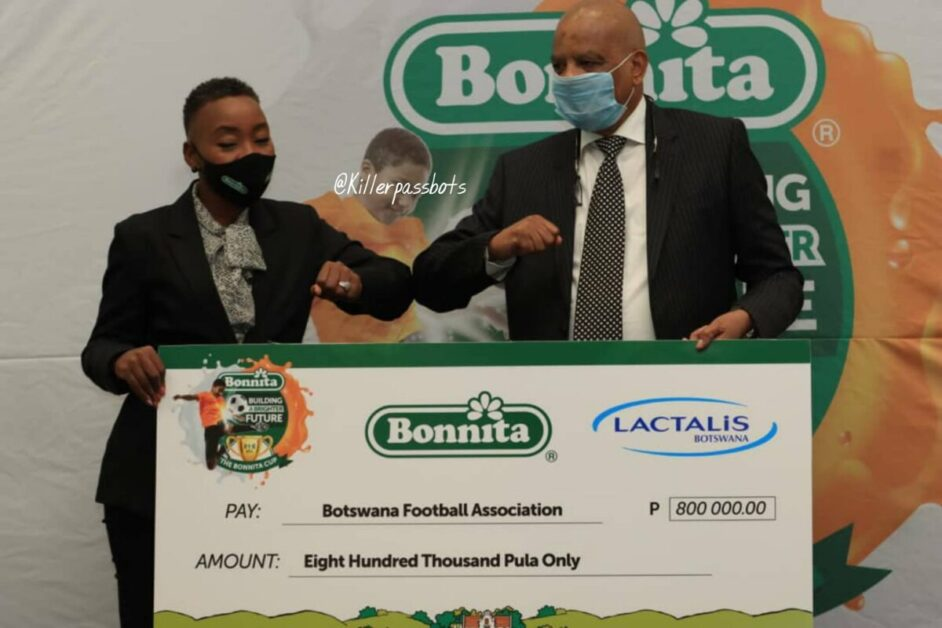 Bonnita Cup launch,Botswana Football President Maclean Letshwiti and Lactius Botswana Country Manager