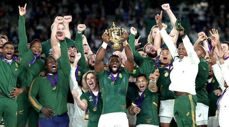 south Africa rugby national team celebrating after its 2019 victor in Japan World Cup showing the spirit of Ubuntu with its multi racial team. showing